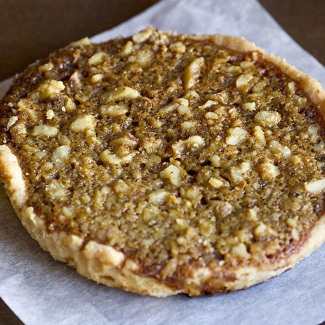 bourbon walnut tart at alaska cake studio