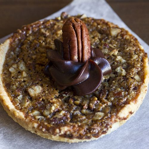 chocolate pecan tart at alaska cake studio