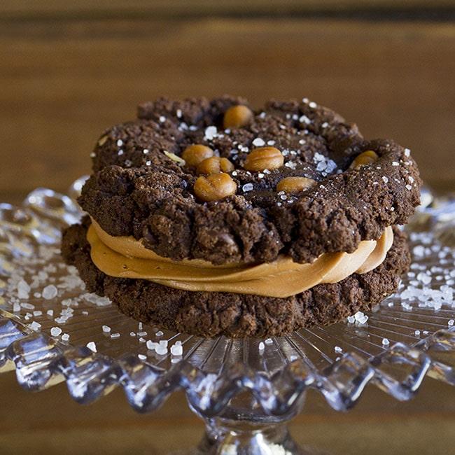 chocolate salted caramel sandwich cookie at alaska cake studio