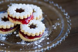 strawberry linzer cookies at alaska cake studio