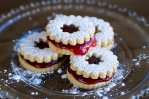 strawberry linzer cookies at alaska cake studio